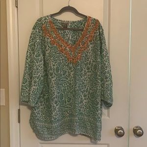 Catherine's Lightweight Coral & Green Shirt